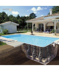 PPP pool 10,5 x 5 x 1,5 m FARVE incl.liner med roman trappe